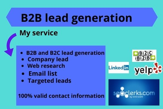 I will do B2B lead generation and valid information.