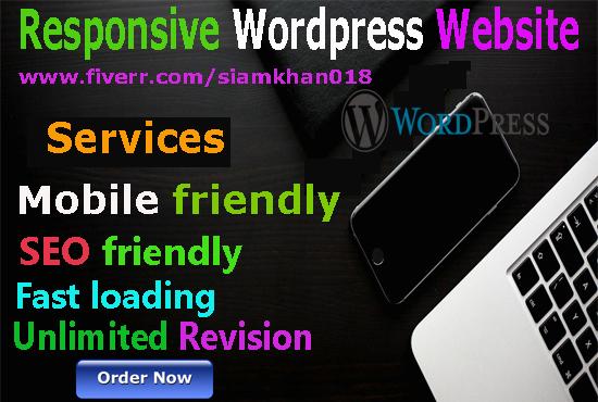 I will create responsive mobile and seo friendly wordpress website