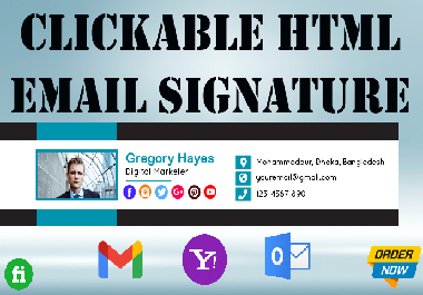 I will create & design a professional clickable HTML email signature