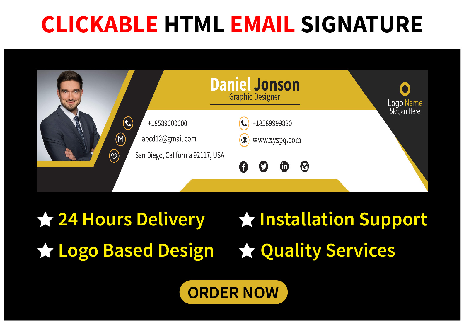 I will create or design a professional clickable html email signature