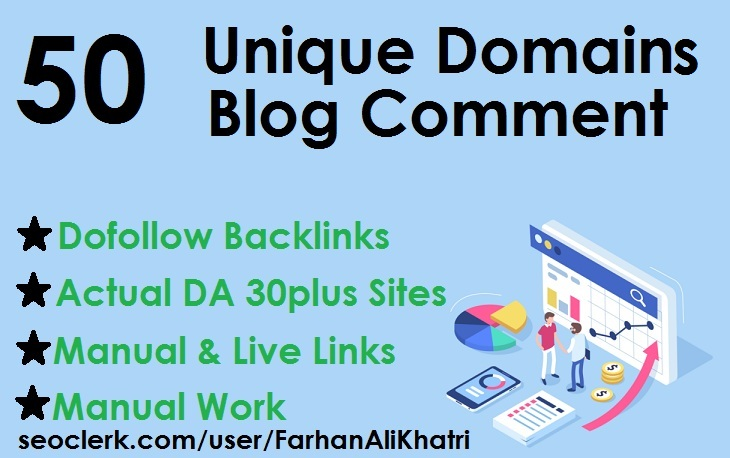 Manual 50 unique domains blog comments dofollow backlinks DA 30plus sites
