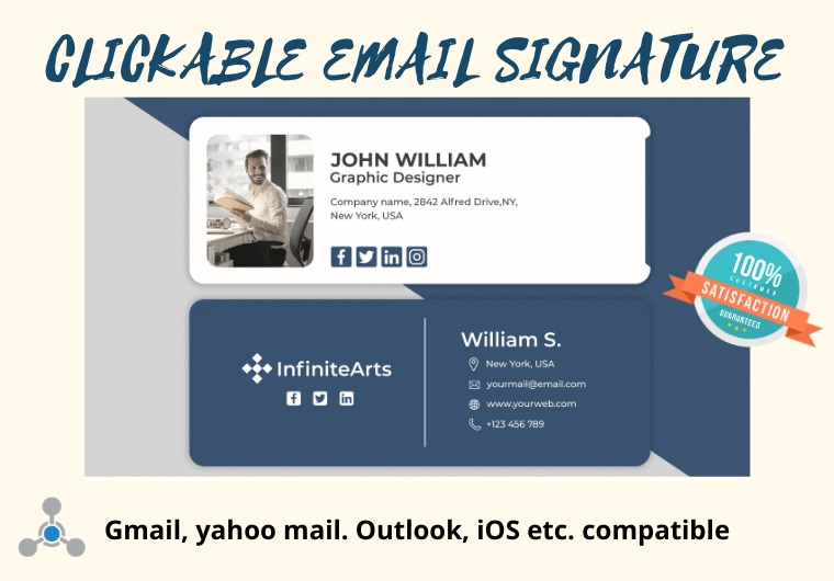 I will create clickable HTML email signature for outlook,  Gmail,  apple etc.