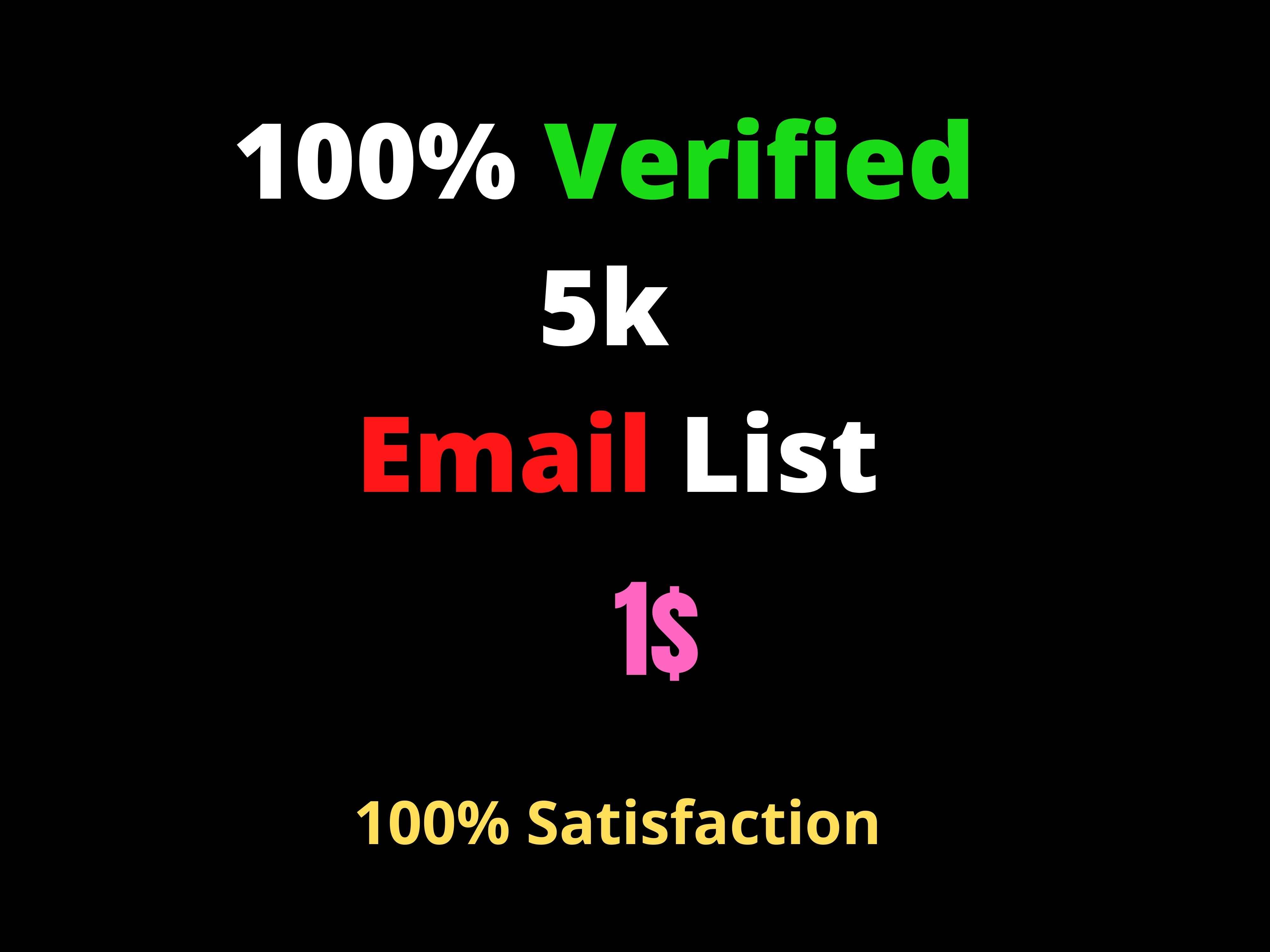 I will Deliver 5k Verified and active Email List