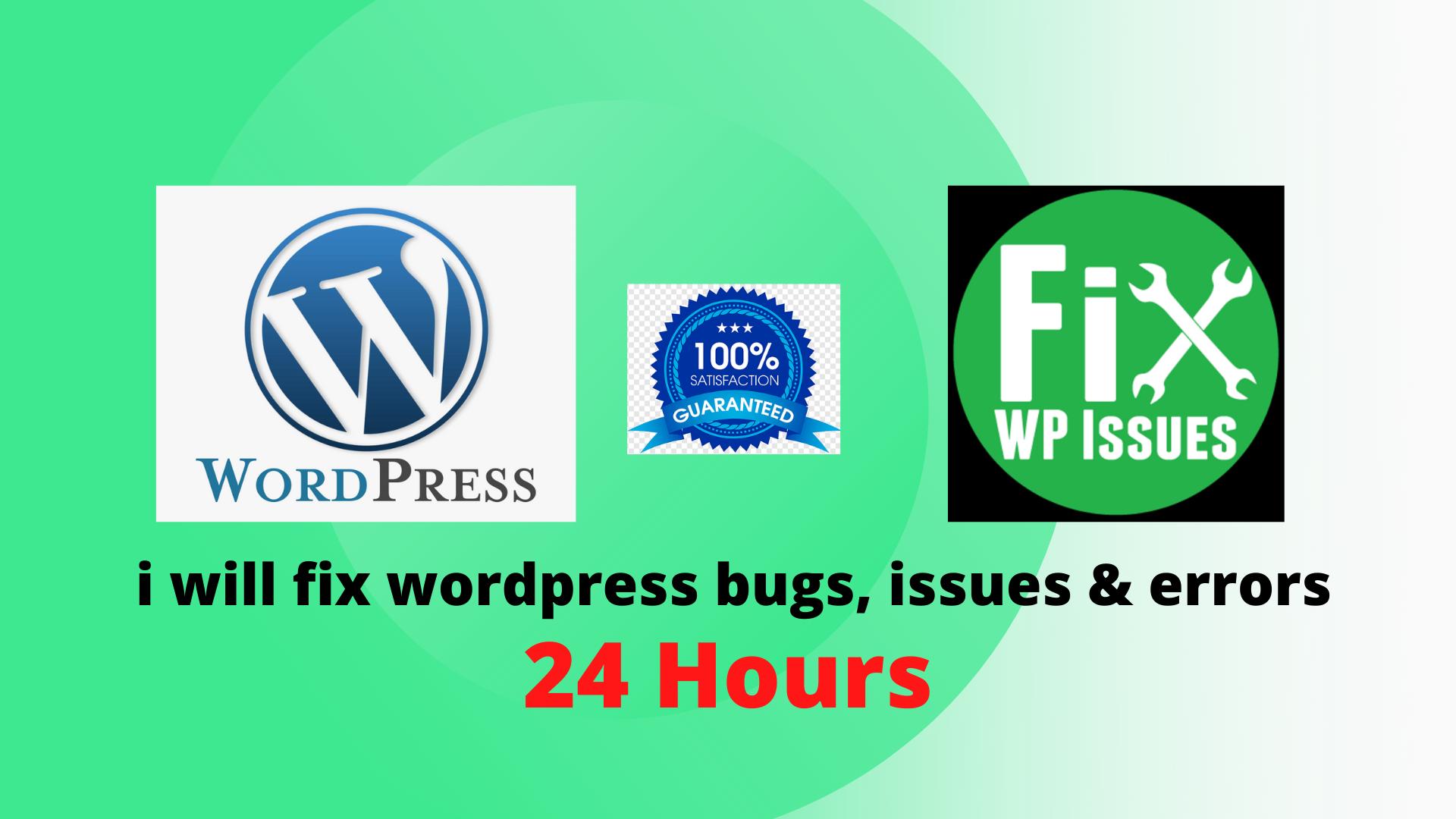 I will fix WordPress issues errors and bugs