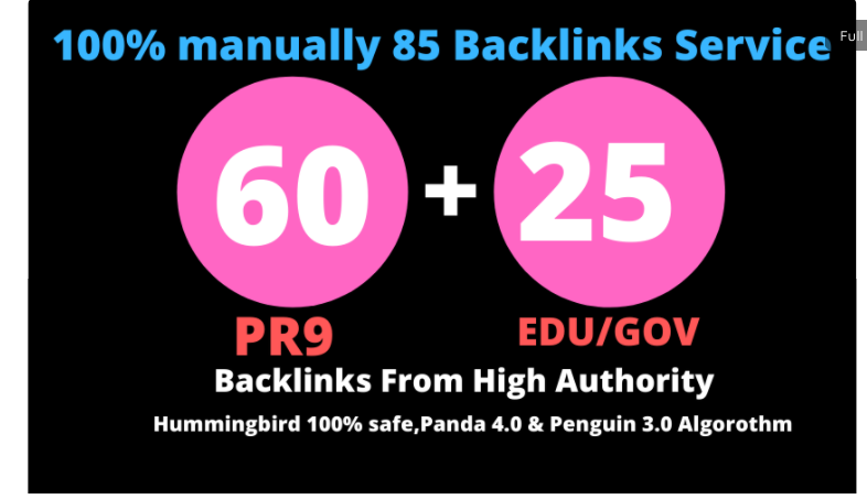 I will manually do 61 PR9 + 25 EDU/GOV Safe SEO High Pr Backlinks 2020 Best Results