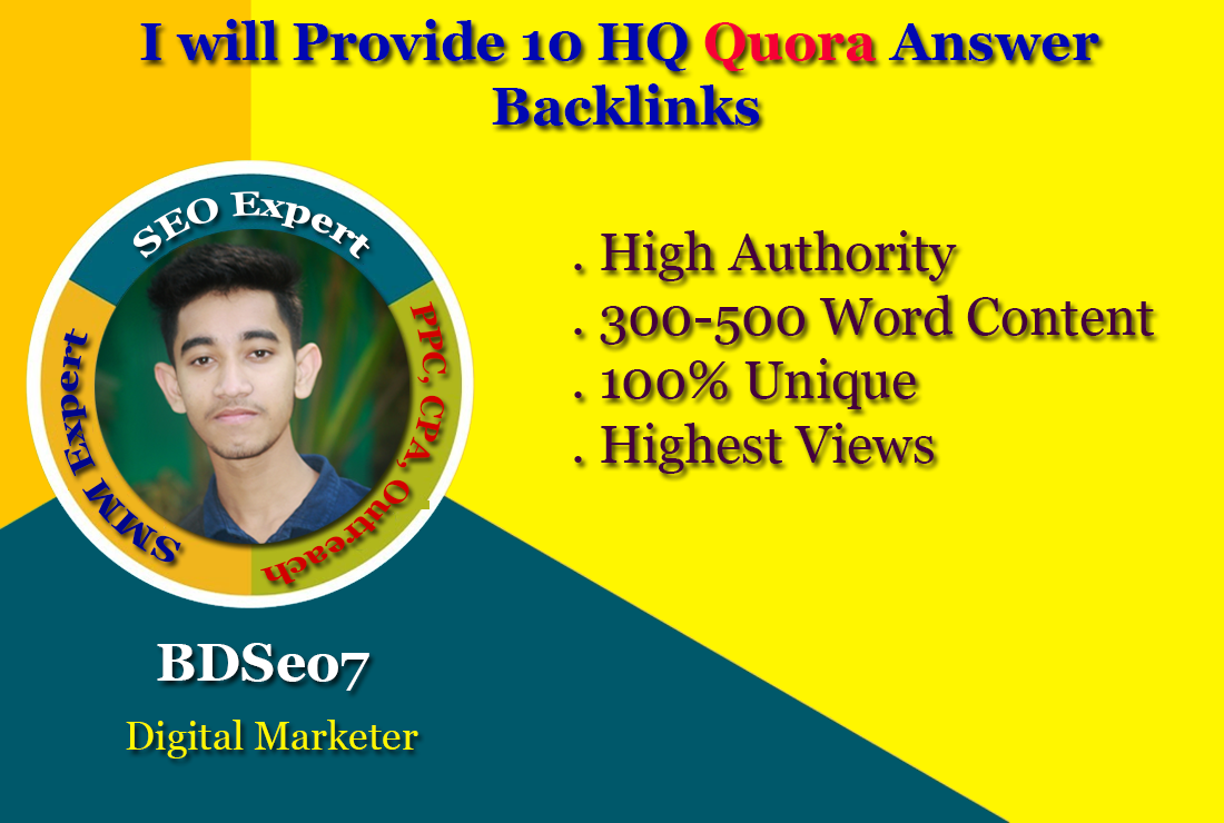 I will provide 10 HQ Quora answer backlinks
