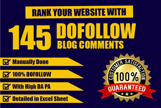 I will provide 145 dofollow blog comment backlinks High DA PA & off page seo