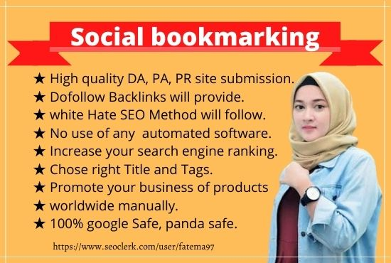 I will do top 15 high quality DA PA social bookmarking
