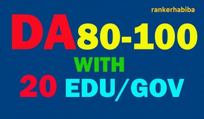 I will provide 80+20 powerful website backlinks from edu,  gov sites