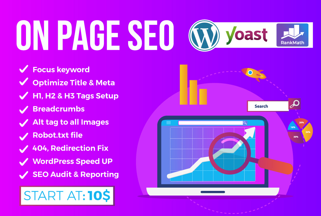I will do wordpress on page optimization yoast, rankmath SEO