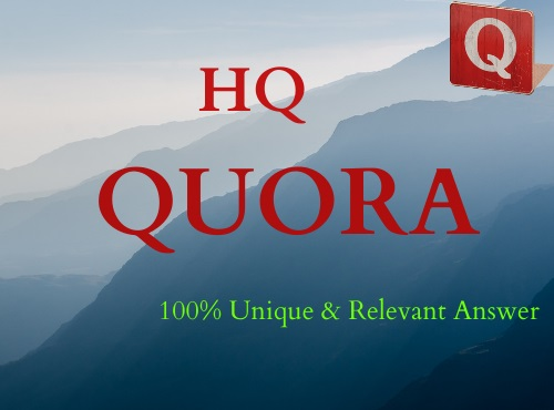 Get 5 high quality Unique Quora answers for promoting your website.