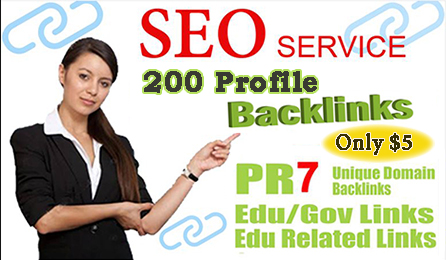 I Will Create 200 High Quality DOFOLLOW PR7 to 99+ HQ Google Dominating Profile BACKLINKS