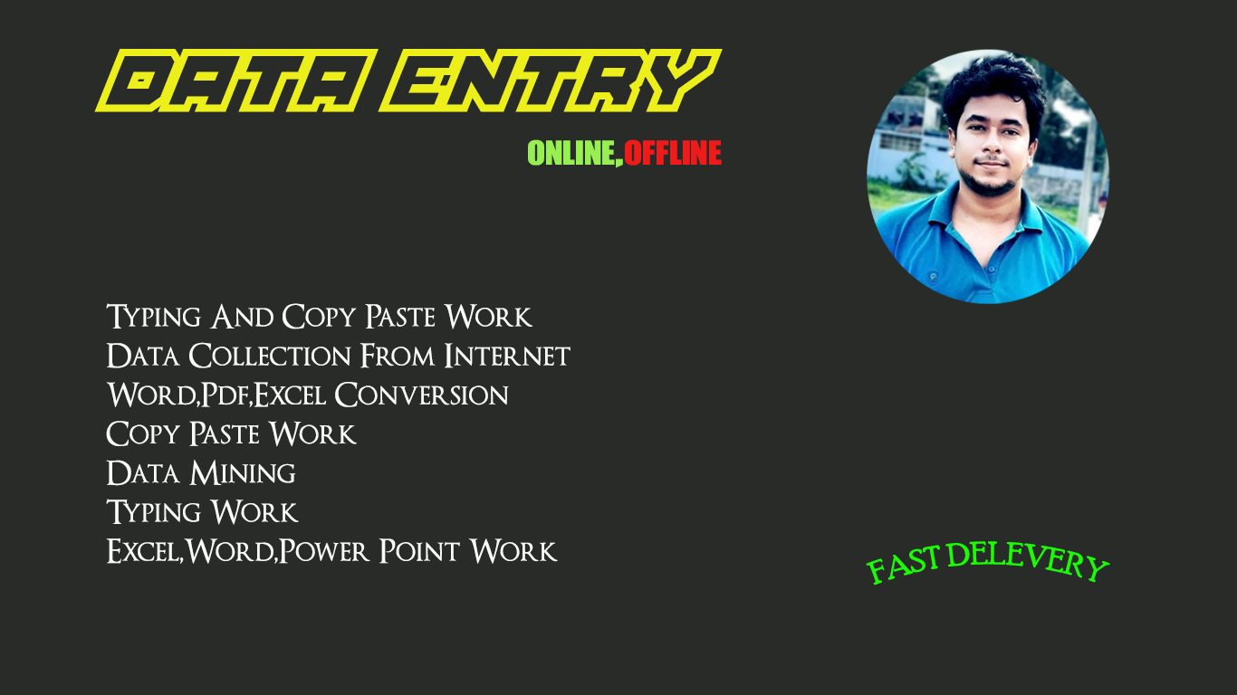 I will Do Data Entry work as a Virtual Assistant