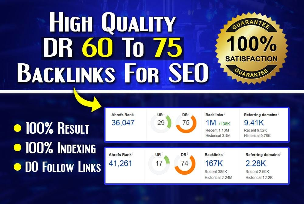 do 50 DR 60 to 80 dofollow backlinks for off page seo