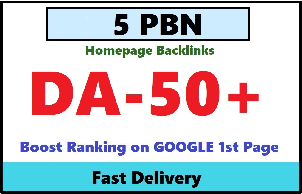 Get 5 Permanent Manual High Quality DA 56+ Homepage Dofollow PBN Backlinks
