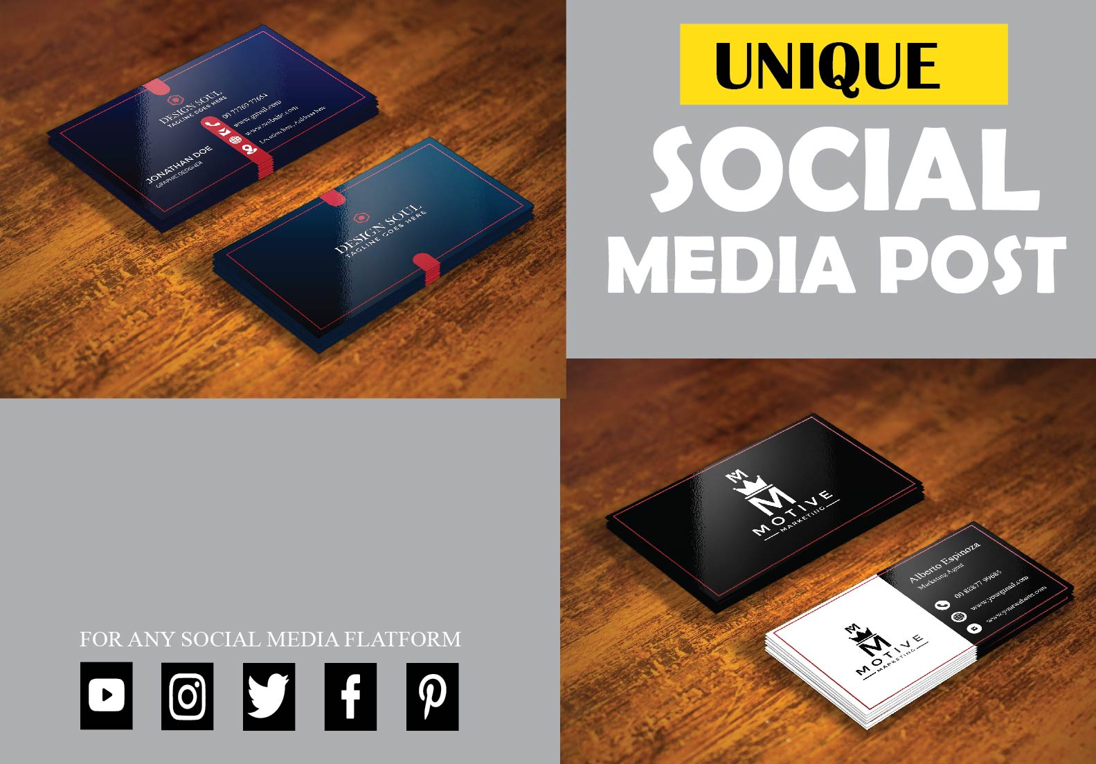 I will create unique and professional business card design for you.