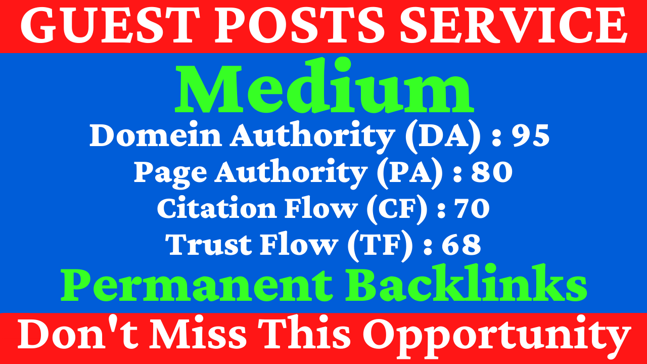 I Will Write With Publish A Guest Post On Medium DA 95,  PA 80 With Google Indexing Free