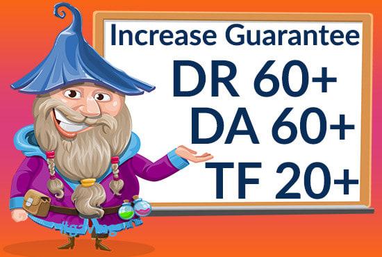 I will increase domain rating DR,  DA,  TF domain authority