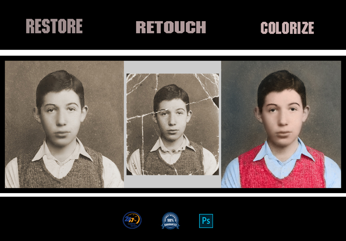 I will restore,  retouch, colorize, repair from old image