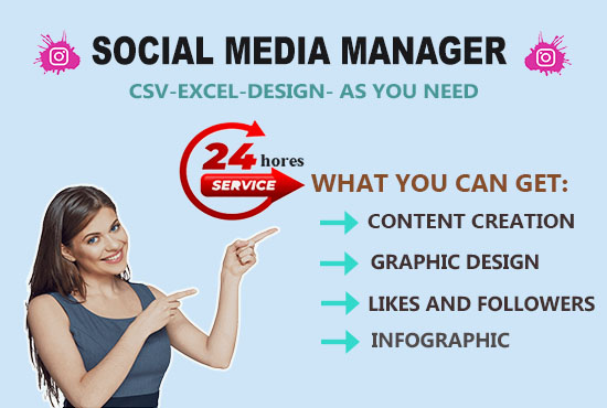 I will be your social media manager content creator
