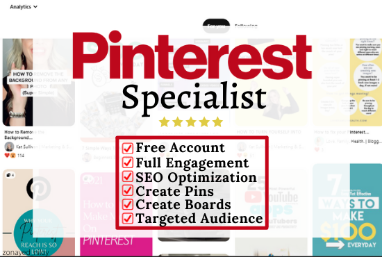 setup,  optimize and do Pinterest marketing,  create 10 boards and 50 pins with searchable keywords