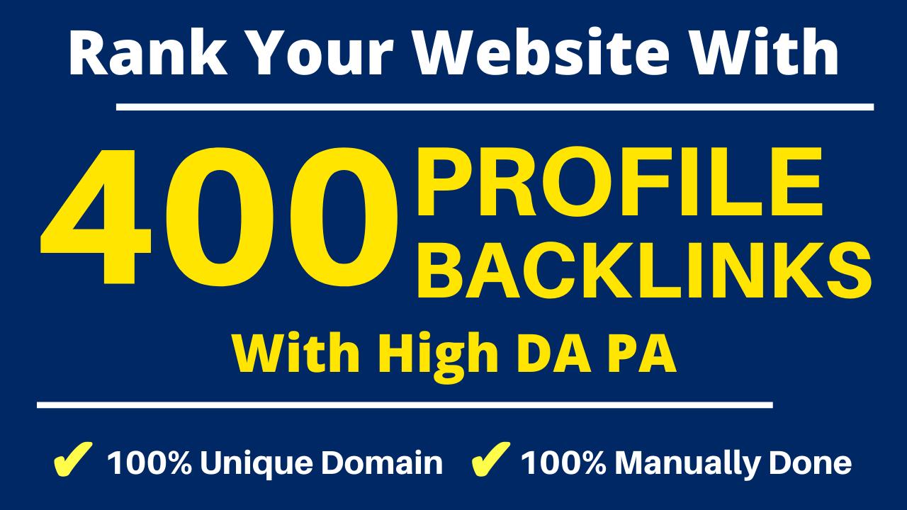Manually DA 80+ All PR9 400 Safe High authority Dofollow Profile Backlinks to Increase Ranking