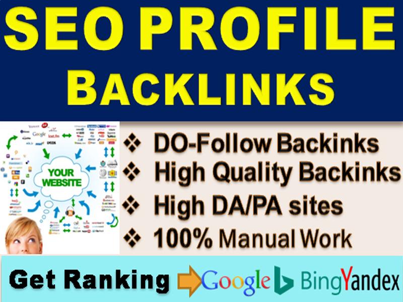 I will do 80 Do Follow high DA SEO profile backlinks