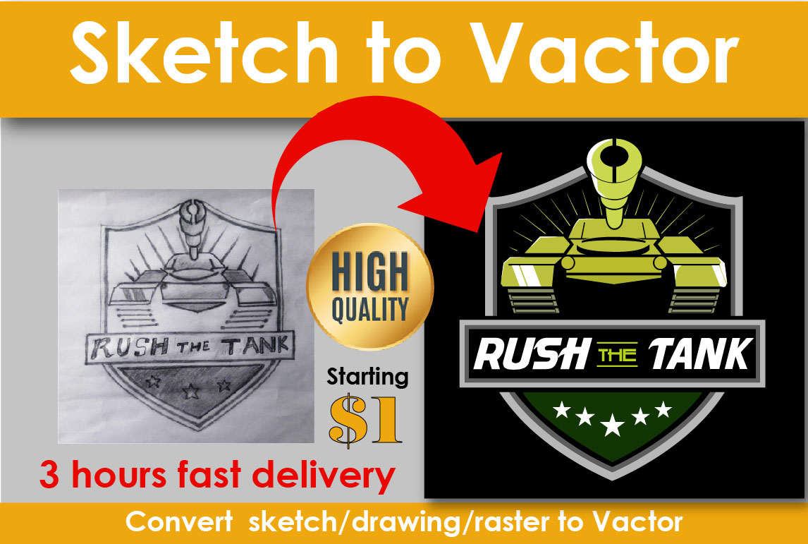 I will convert any sketch,  image,  logo,  or icon to digital vector within 3 hours