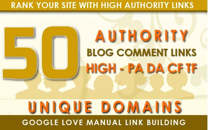 I will do 50 unique domain blog comment with da 40 plus