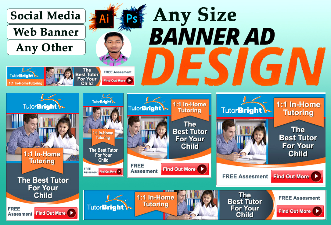 I will do banner ads design for google, web, social media and other