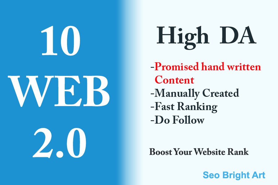 10 Manually written and created WEB2.0 Link from High DA authority site.
