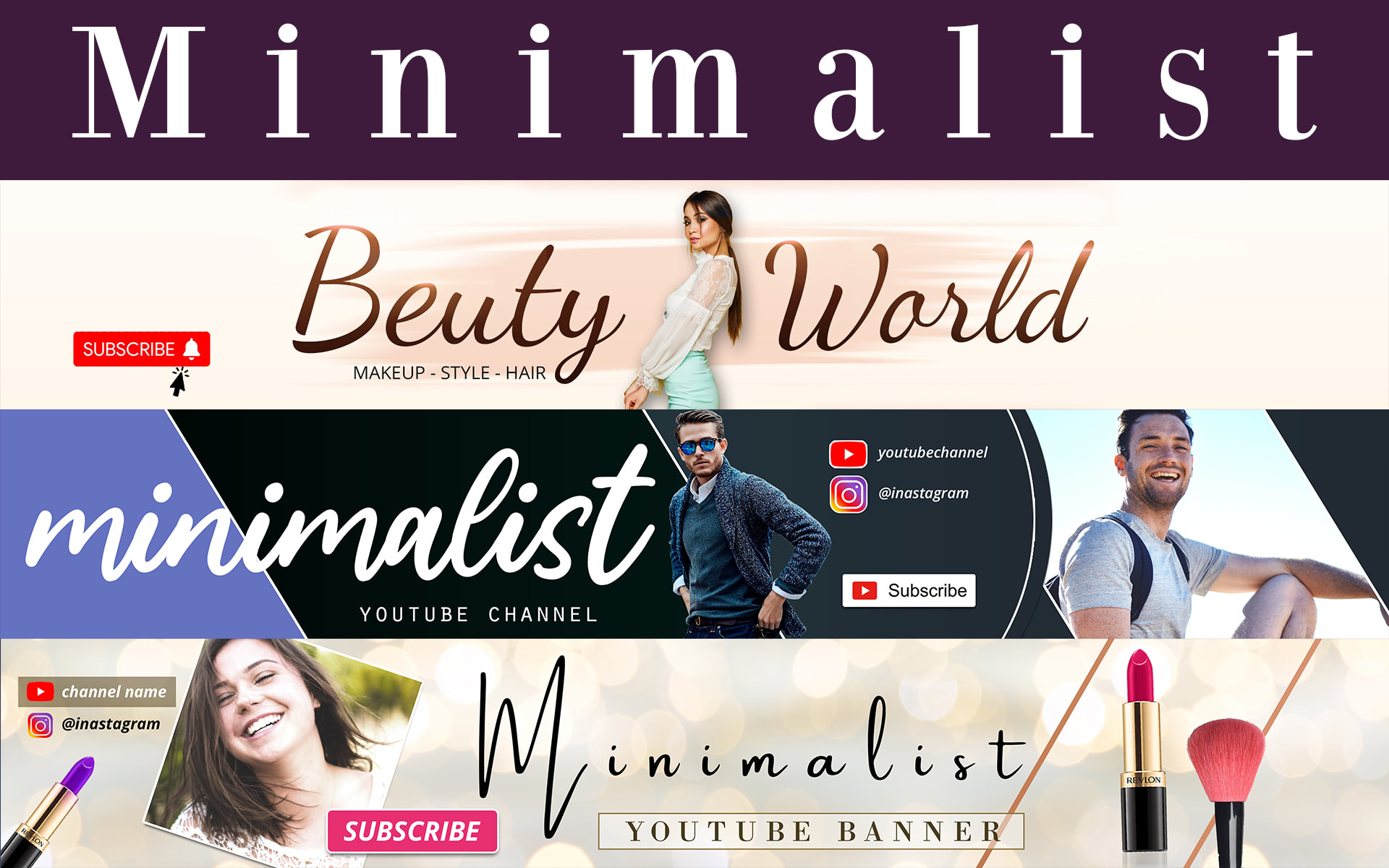 I will design minimalist youtube banner and logo