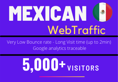 5000+ Mexico TARGETED low bounce and long visit Human traffic to Your Website