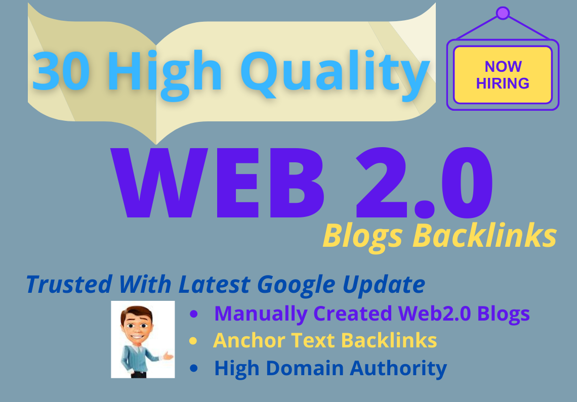30 Contextual HQ Do-follow Web2.0 Manual Blogs Backlink