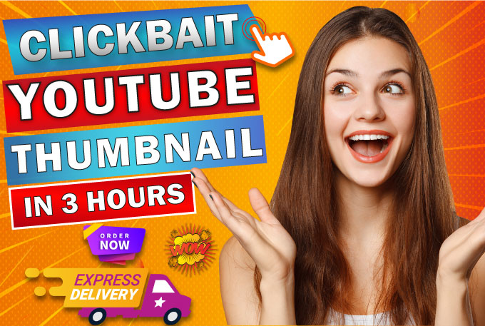 I will design more eye catchy youtube thumbnails in 3hrs