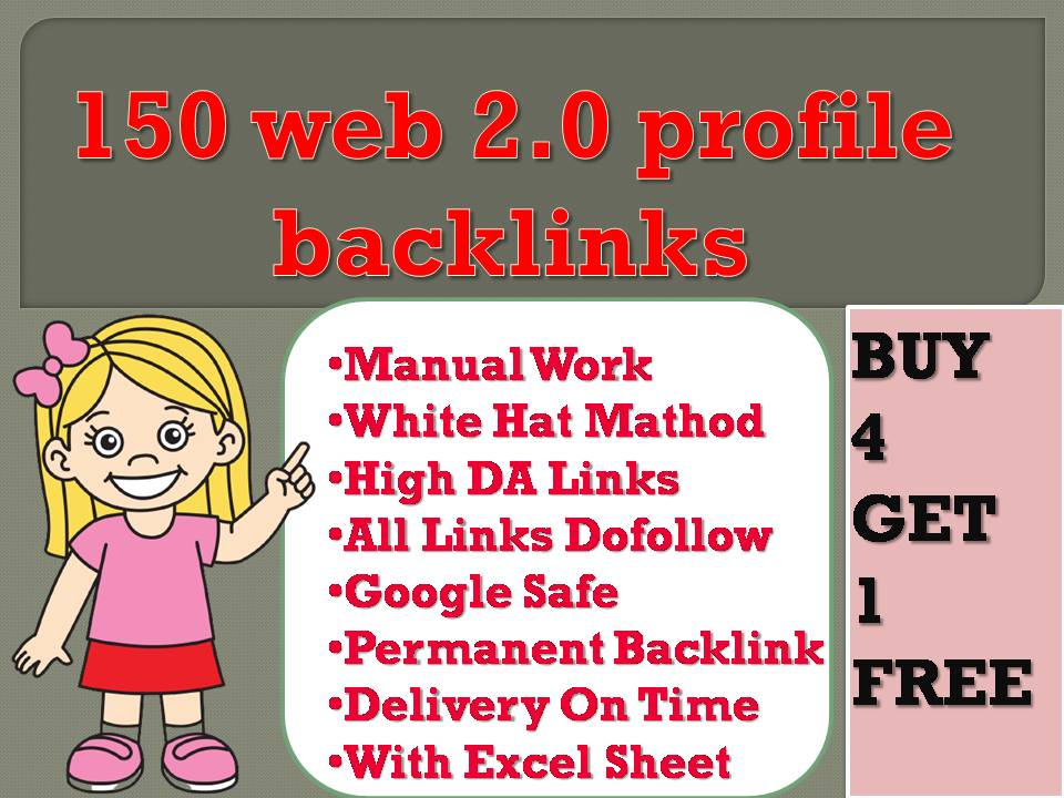 I will create over 150 web 2.0 profile backlinks on high da sites