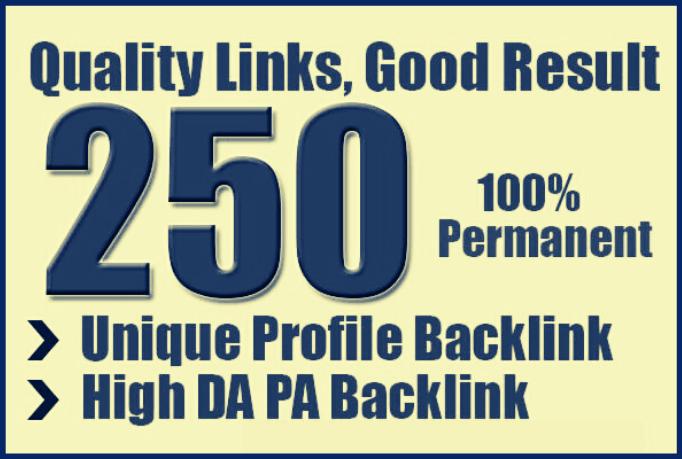 I will create 250 profie backlinks from high DA sites
