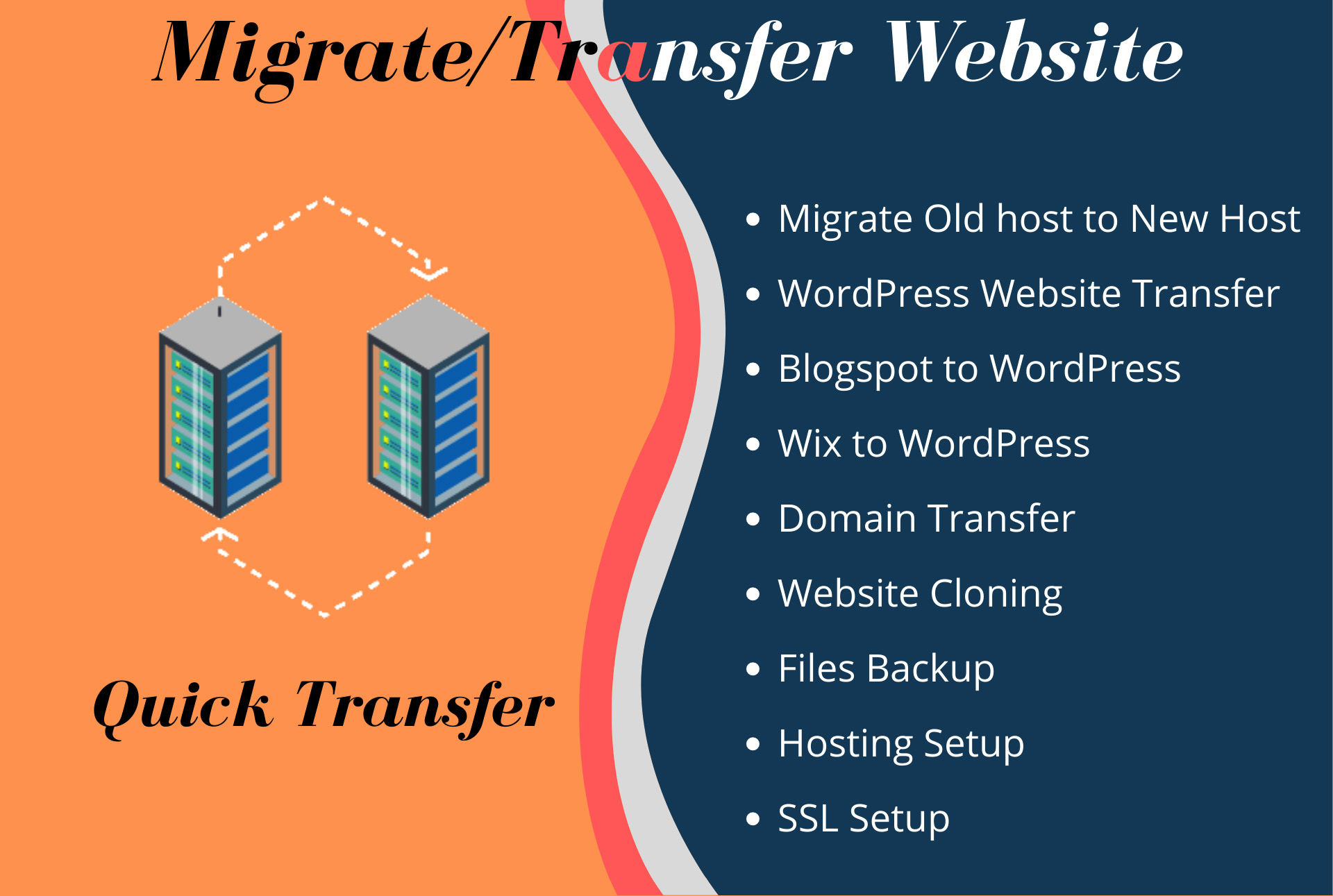 transfer or migrate wordpress or any other website to a new host