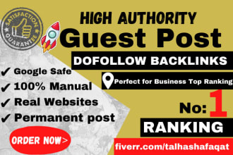 I will provide high da 40plus guest post for improve organic ranking
