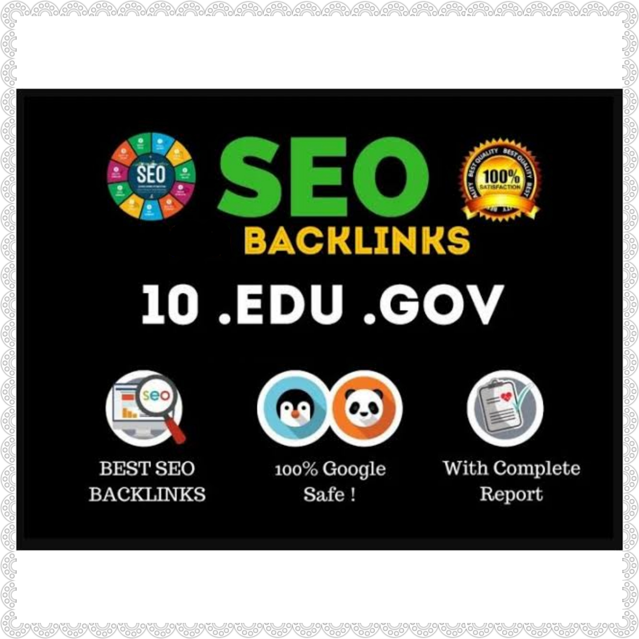 10 EDU 10 GOV and 40 blog comments total 60 backlinks High DA PA