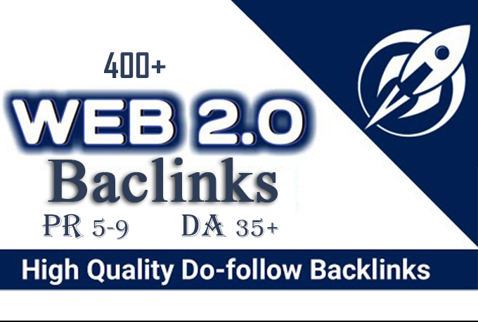 400+web2.0 Backlink in your website hompage with HIGH DA/PA/TF/CF with unique websites