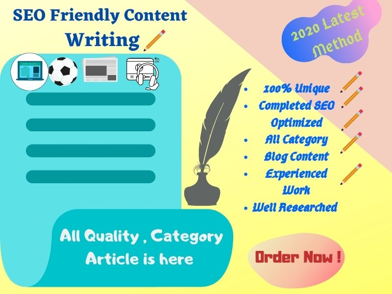 I will write HQ SEO Article,  Content writing. Blog writing