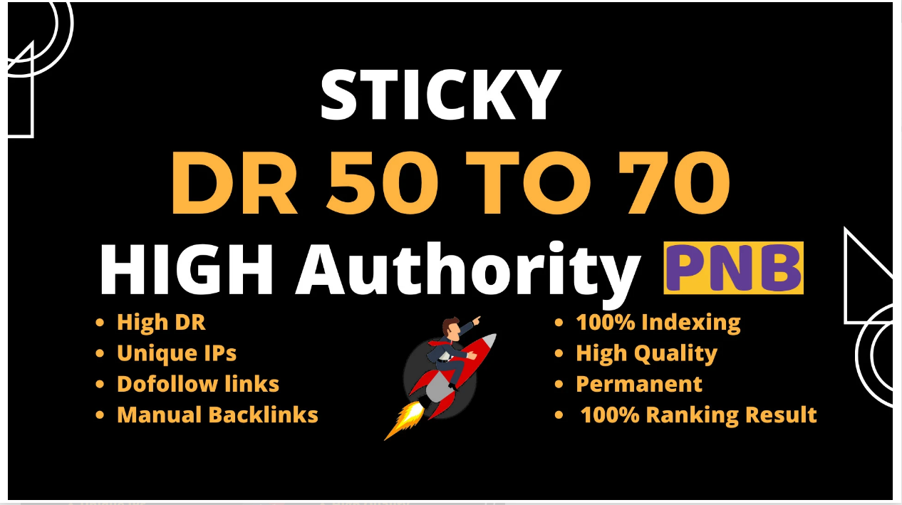 I will make DR 50 to 70 high quality dofollow backlinks for seo