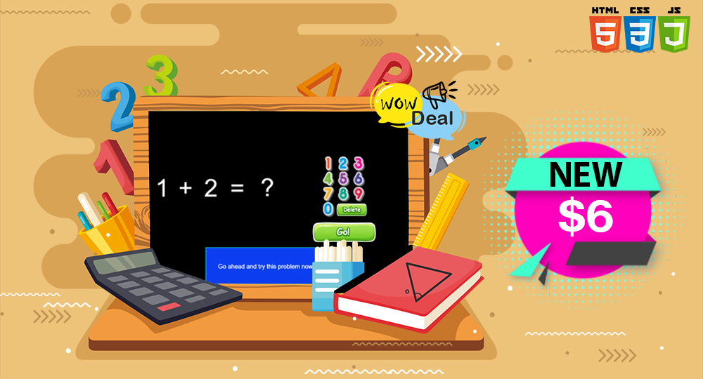 Simple Kids Math Game Kids Games - Add Game HTML5/CSS/JS