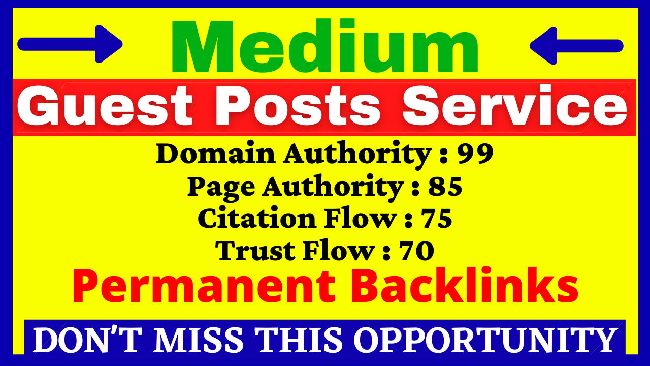 Write And Publish A Guest Post On Medium DA 99 PA 85 With Permanent Backlink