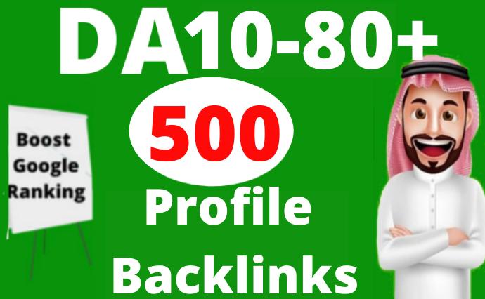 500 High Authority Profile Backlinks SEO Manual Dofollow to Rank Website