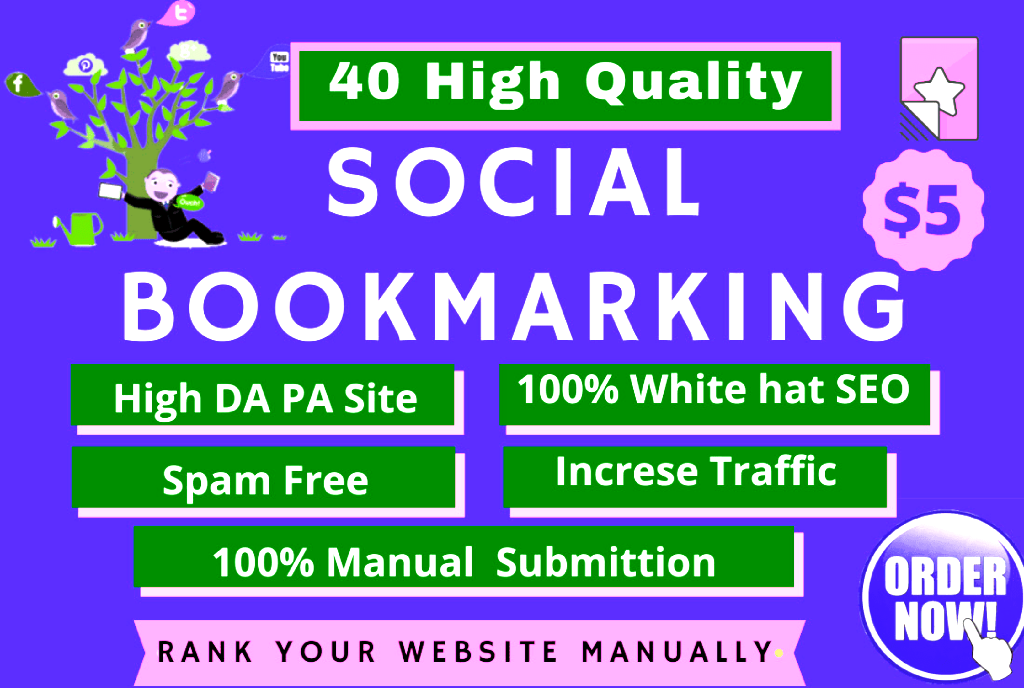 I will provide High quality 40 social bookmarking backlinks to your website.