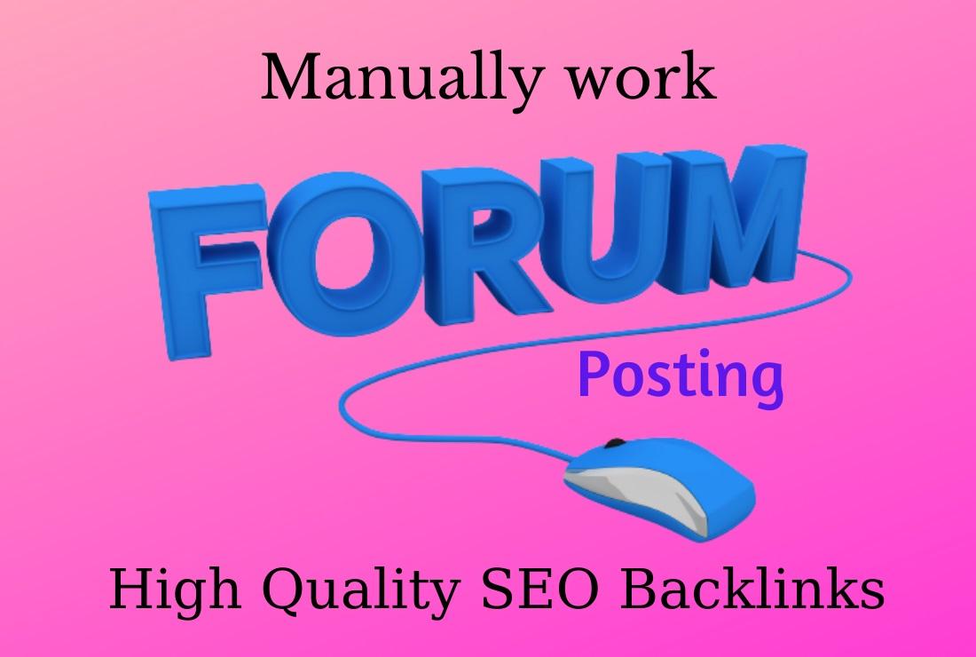 Manually create 50 Forum posting SEO Backlinks On High DA/PA sites