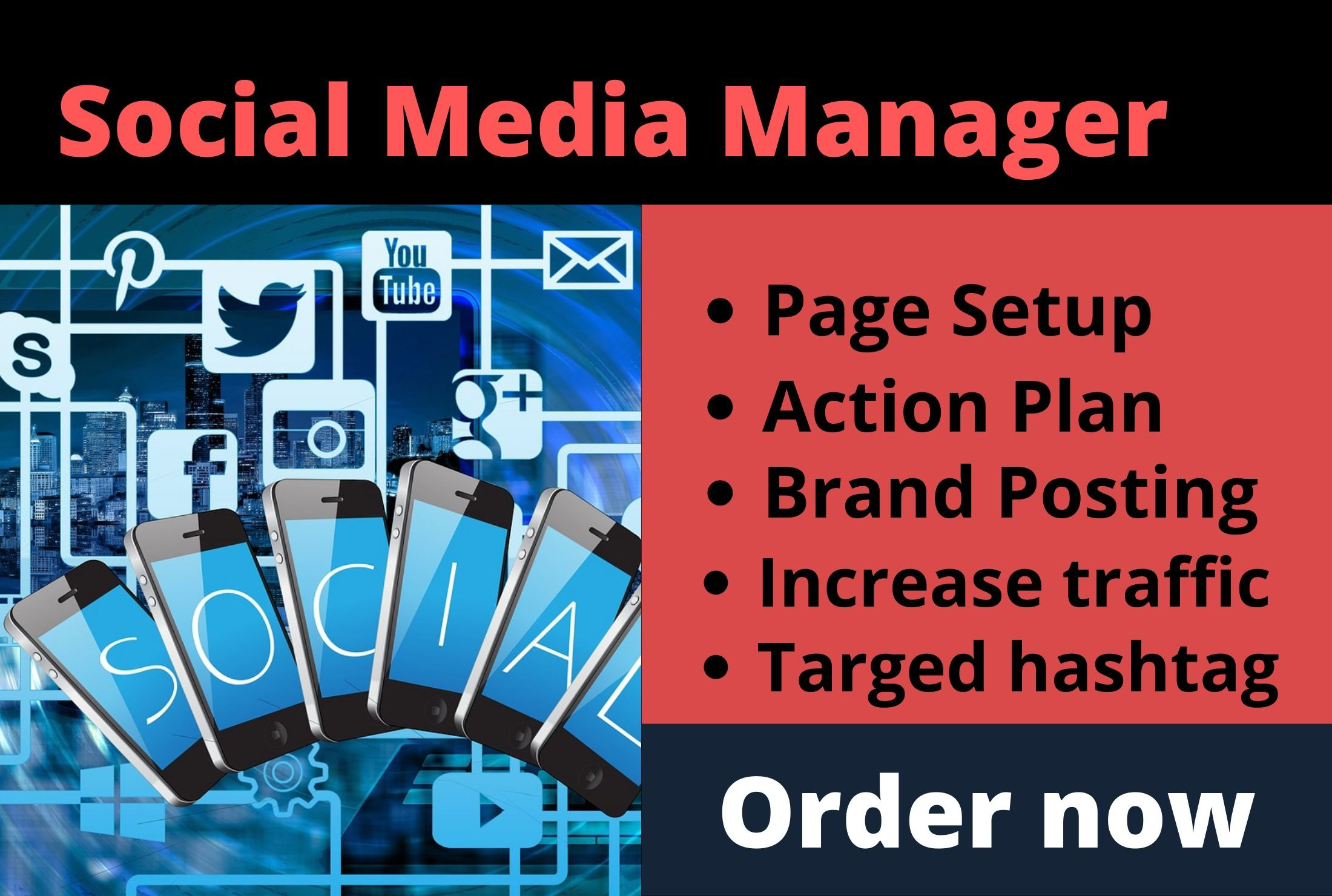 I will be your Social Media Manager for Personal Management
