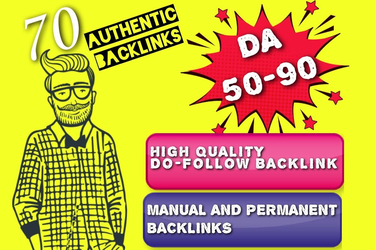 I will create 70 manually high quality DA 50-90 Do-follow Profile Backlinks professionally